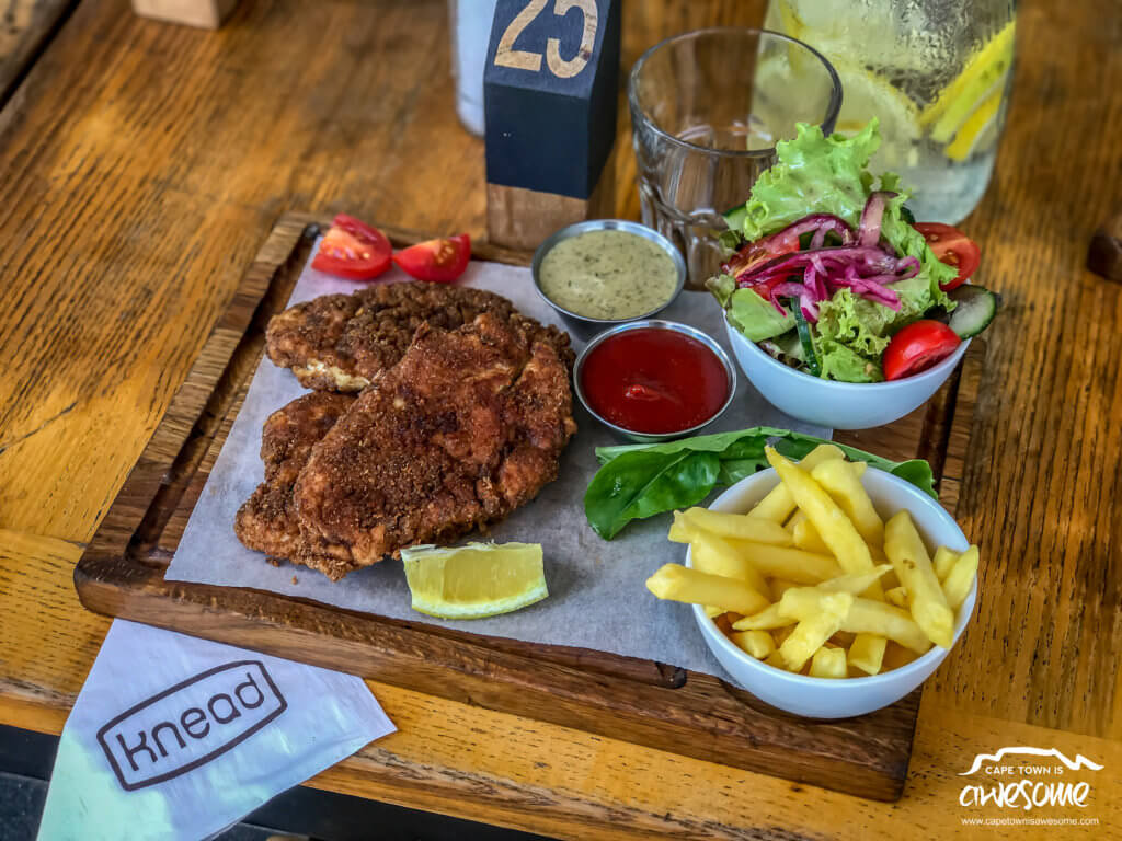 The Crumbed Chicken Schnitzel from Knead Bakery was well presented and very tasty !